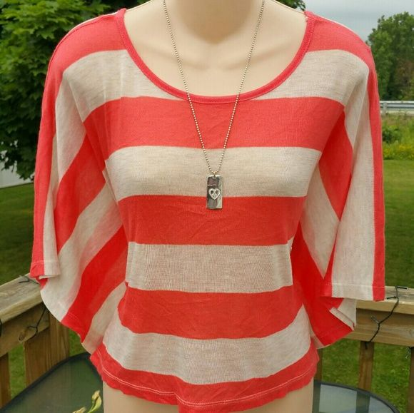 Aeropostale Orange striped batwing dolman top Bundle for discounts!  Never worn! Bust approx 38-42 inches. Soft and lightweight material.  I also have 2 matching lace tanks orange & oatmeal -comment for the set if interested.    #new #nwot #striped #stretchy #orange #beige #ivory #oatmeal #colorful #bright #soft #cropped #kimono #batwing #dolman #top #sweater #shirt #fall #spring #summer #large #lg #ashleisgoodies Aeropostale Tops Crop Tops