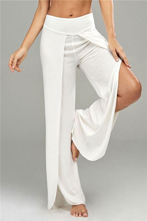 Elastic Waist High Split Palazzo Pants - White