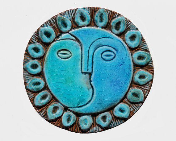 moon & sun wall decor - wall art - home decor - wedding gift - garden decor - turquoise - wall hanging - decorative plate