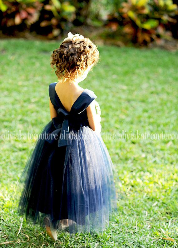 Flower Girl Dress Natural Navy by OliviaKateCouture on Etsy, $99.95