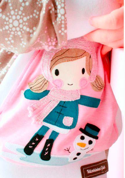 Süße Applikation für Kinder mit Mädchen und Schneemann - Applikationsvorlage via Makerist.de