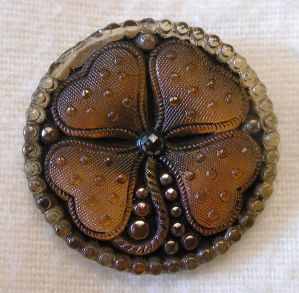 Antique Glass Four Leaf Clover Button