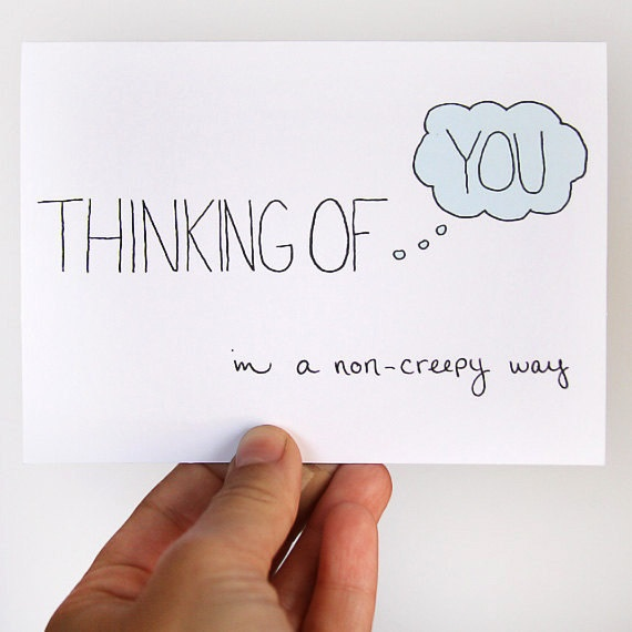Thinking Of You Card. In A Non-Creepy Way. Light Blue, Robins Egg Blue, White. Single Card.. $4.00, via Etsy.