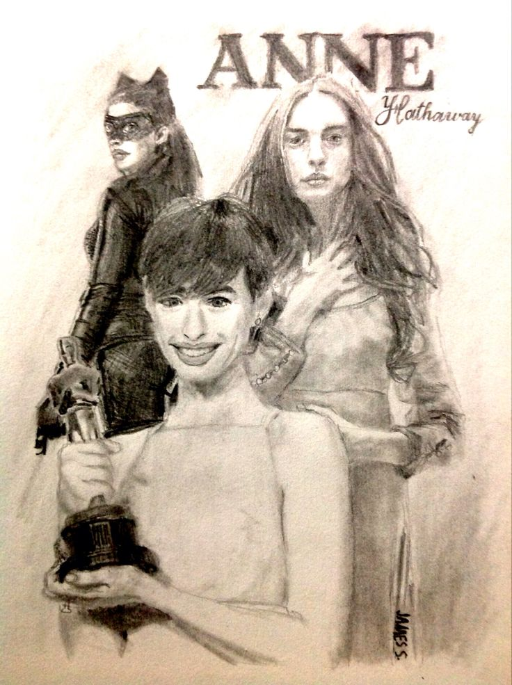 Celebrity Sketch of Anne Hathaway (references to 'Les Misérables' & 'The Dark Knight Rises')