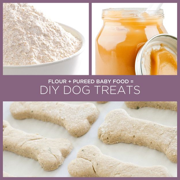 34 Insanely Simple Two-Ingredient Recipes {pictured here ~  Flour + Pureed Baby Food = DIY Dog Treats} Just make sure there's no garlic or onions in the baby food.