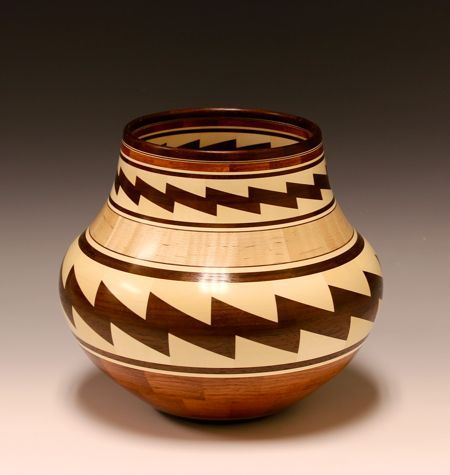 Brazilian Cherry, Walnut, Holly And Tiger Maple Turning by Glen Crandall.
