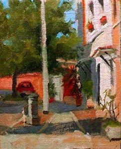 "Morning, Via del Pigneto 8x6"" oil on linen panel ©Kelly Medford SOLD"