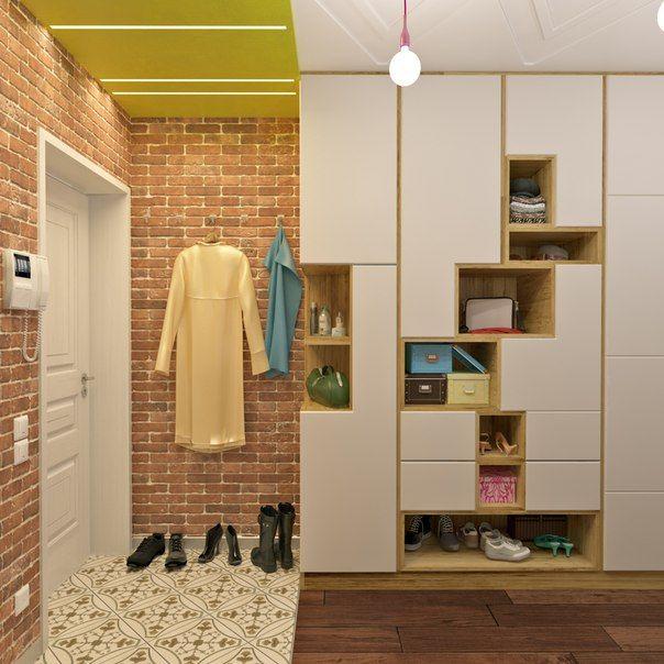 """Небольшая квартира на """"Речном вокзале"""" #прихожая, #яркая, #синий, #цветная, #сюрреализм"""
