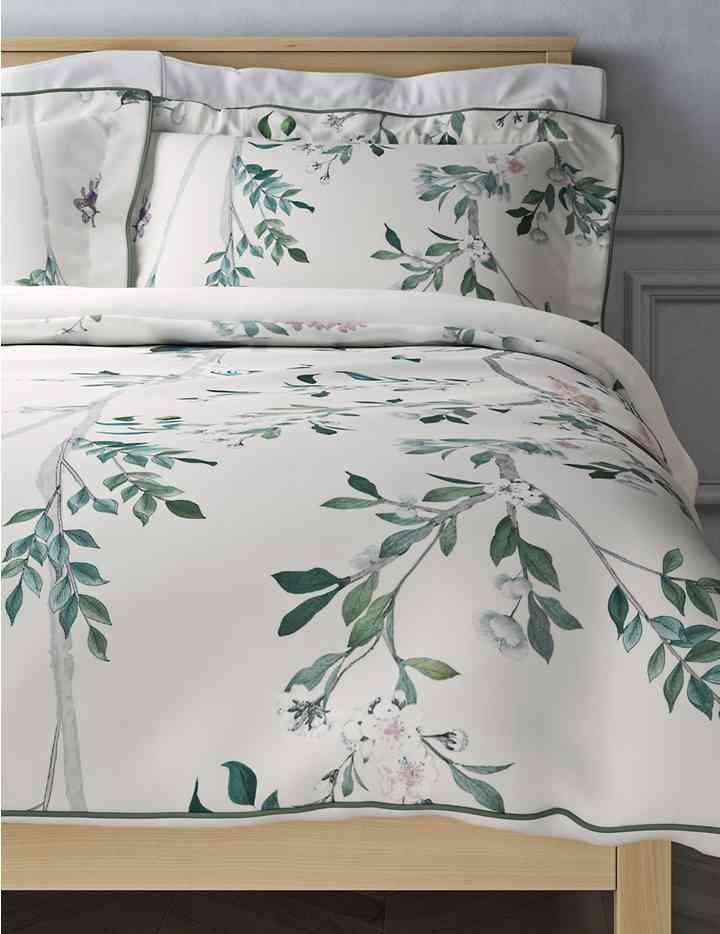 Pure Cotton Sateen Aurelia Print Embroidered Bedding Set M S Embroidered Bedding Bed Linen Australia Bedding And Curtain Sets