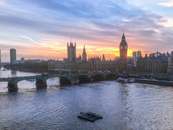 Big Ben Westminster and Thames at sunset, London UK. by WillCarterMedia.Etsy.com