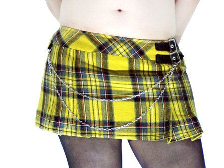 Yellow Tartan Skirt School Girl Punk Fetish by DarkWidow on Etsy, $25.00