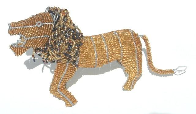 Lion Wire Beaded Sculptured Artwork