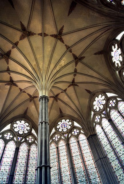 2014  ENGLISH GOTHIC: Fan vaulting, 1263-84. The chapter house of the Salisbury Cathedral holds England's Magna Carta. Look for the location of this small building in the photo of the whole abbey complex.
