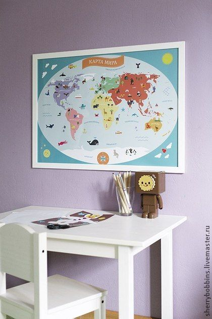 Карта мира - голубой,постер,карта мира,детская,Декор,декор детской комнаты