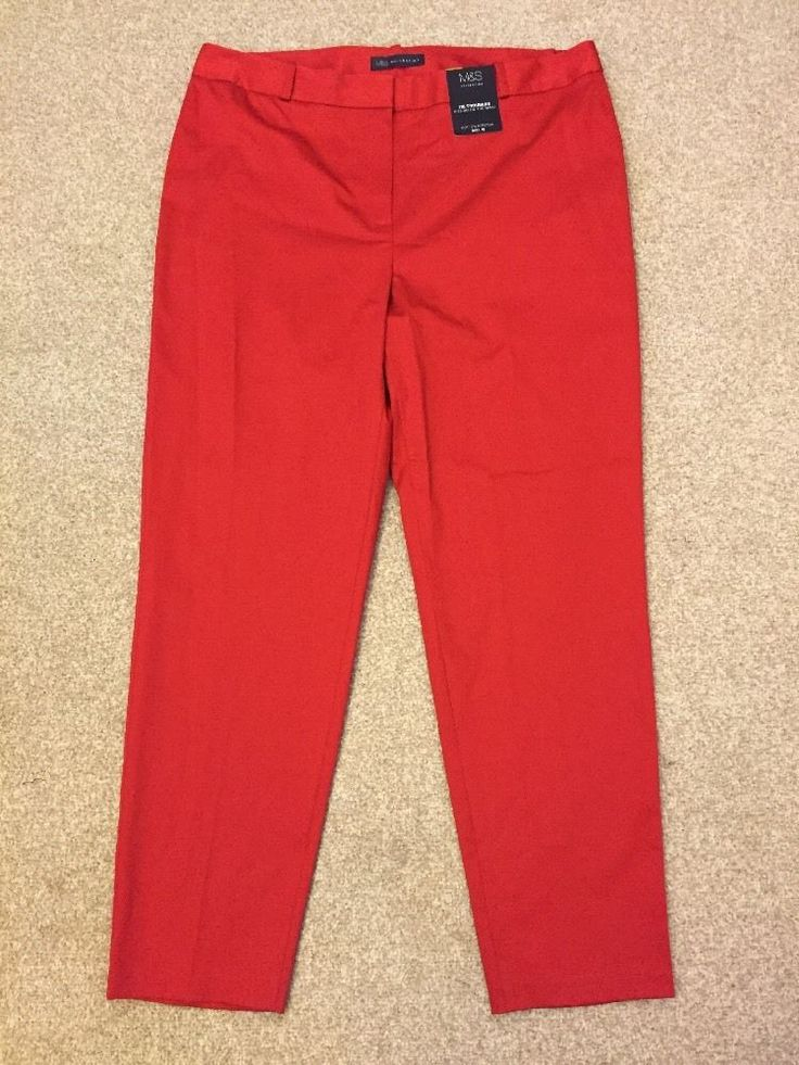 M&S COLLECTION Ladies 7/8 TROUSERS Cotton Stretch UK16 Long Sits Below the Waist