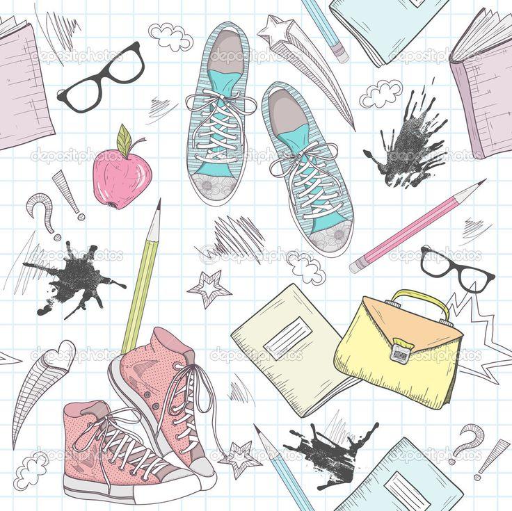 милая школа абстрактный узор. бесшовный фон с обувь, сумки - Стоковая иллюстрация: 13193544