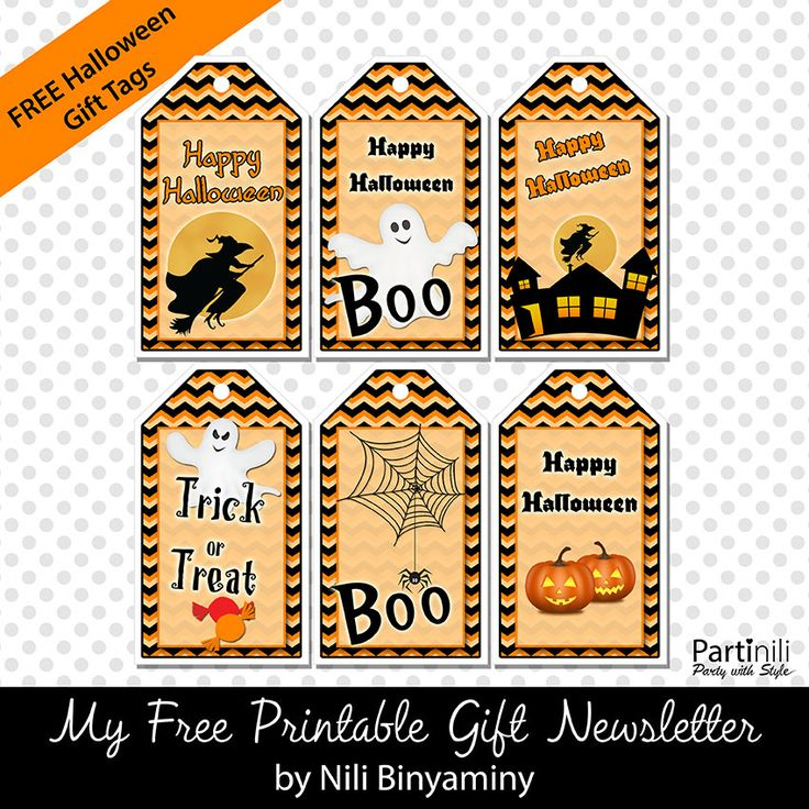 Halloween Printables and party decorations. Halloween cupcake toppers, halloween food tents cards, halloween gift tags, halloween bunting (banner)