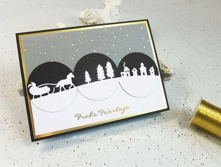 Hallo ihr Lieben, eigentlich ist es ja noch ein bisschen früh für die Weihnachtskartenproduktion, aber beim aktuellen Sketch von Match the Sketch! musst ich irgendwie an die Edgelits Schlittenfahrt...