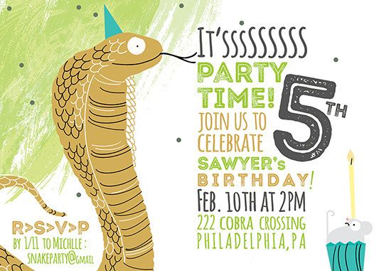 Snake Party Invitation Printable DIY Invitation by exclamationbird