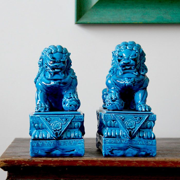 Chinesische Deko-Löwen aus Keramik, Tempelbewacher, Statuen, 2-er Set Maße: 21,5 x 15,5 x 10 cm