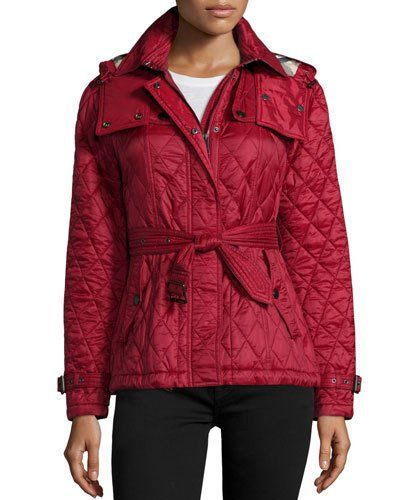 31943d127f7 TRRBA Burberry Finsbridge Check-Lined Short Quilted Coat W ...