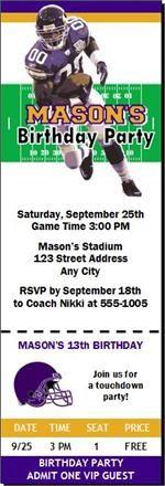 Minnesota Vikings Colored Football Birthday Party Ticket Invitations from PrintVilla.com