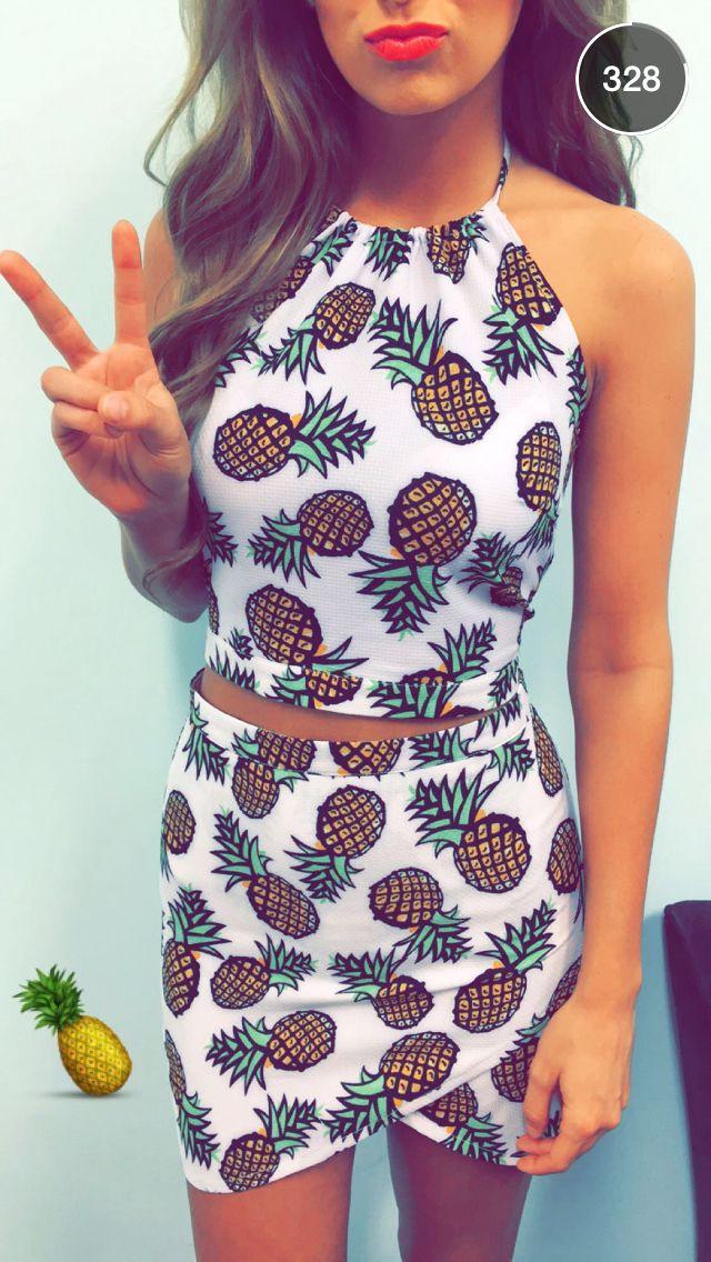 Ensemble avec motifs imprimés ananas, tenue d'été, style vestimentaire original