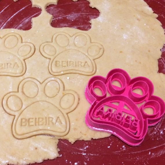 Custom Dog Paw Treat Cookie Cutter For Pets  Personalized dog paw cookie cutters with your own dog name. You can make your dog feel special and loved with their own bones made by you from scratch. Please leave us a note at checkout with the name of your dog.
