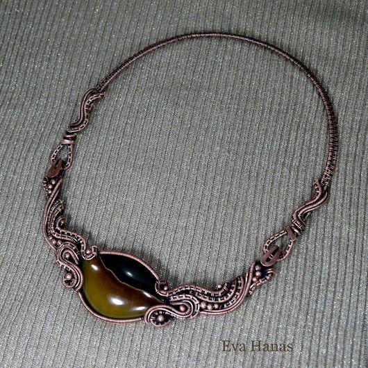 Колье, бусы ручной работы. Ожерелье: симбирцит и медь. Евгения Ханас. Ярмарка Мастеров. Симбирцит, купить подарок девушке