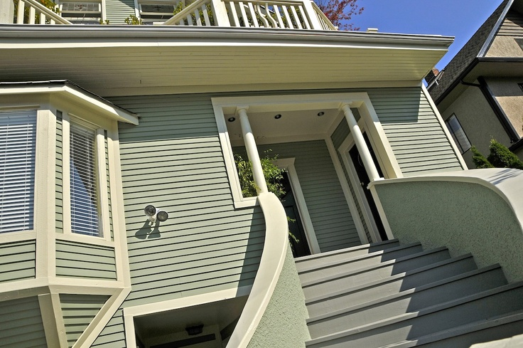 Fabulous Green House With Cream Trim Exterior Paint