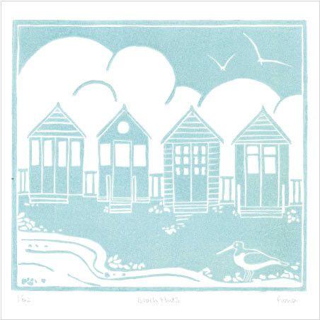 Four Beach Huts Lino Print