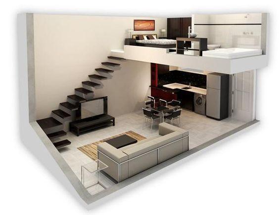 Resultado de imagen para loft de 6 x 4 con entrepiso #decoraciondecocinaspequeña #remodelaciondecocinas