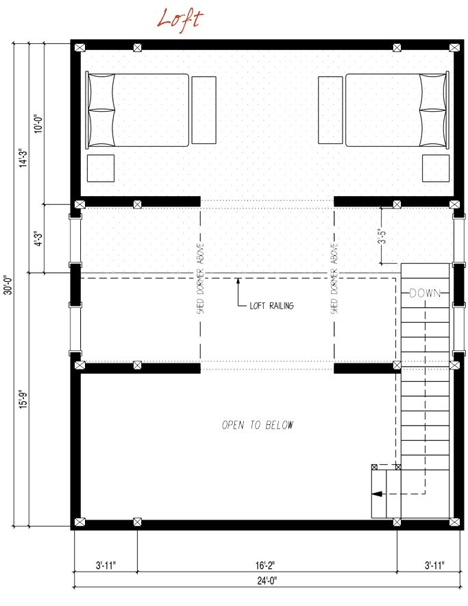 24x30 39 Top Floor Pre Designed Barn Home Loft Floor Plan