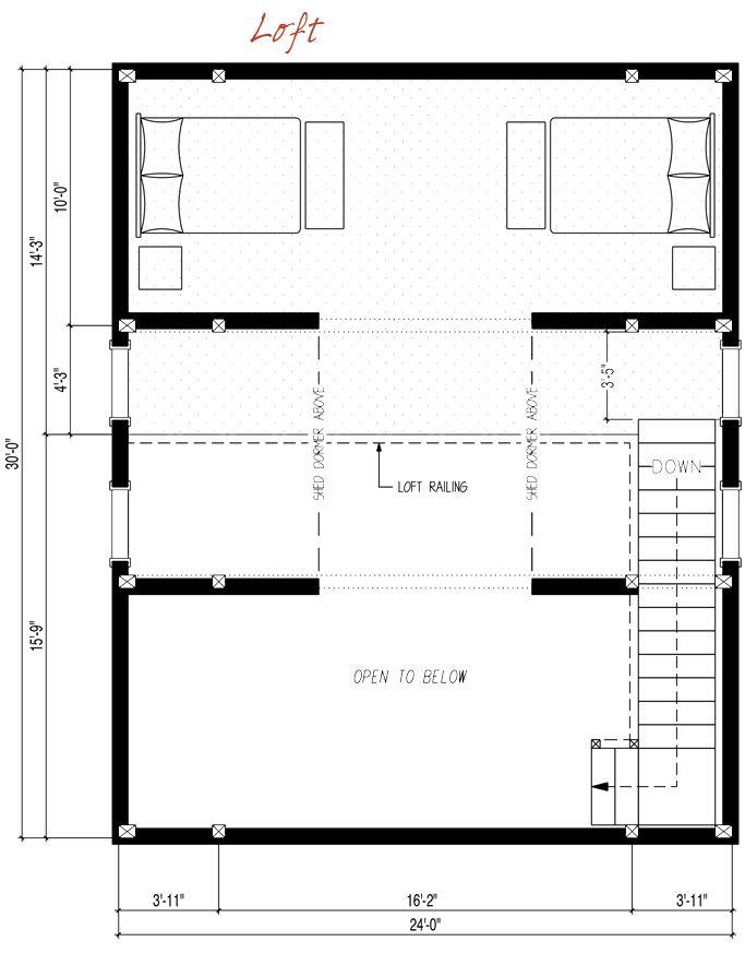 24x30 39 top floor pre designed barn home loft floor plan for 24x30 house plans