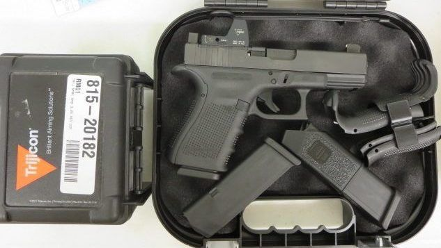 On Consignment:  Glock 19 MOS 9mm w/ Trijicon RMR, 2 extra magazines, night sights and case $950 - http://www.gungrove.com/on-consignment-glock-19-mos-9mm-w-trijicon-rmr-2-extra-magazines-night-sights-and-case-950/