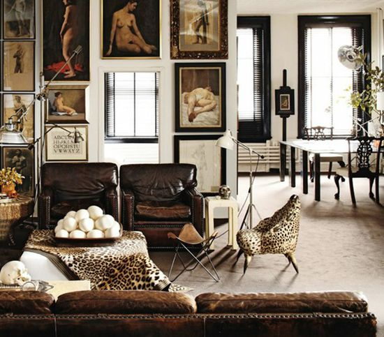 many layers: Ideas, Elle Decor, Living Rooms Design, Interiors, Galleries Wall, Art, Leopards Prints, Animal Prints, Leather Chairs