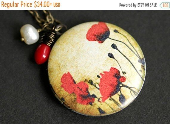 SUMMER SALE Field of Poppies Locket Necklace. Red Poppy Necklace with Red Coral Teardrop and Fresh Water Pearl. Remembrance Locket. Bronze L by TheTeardropShop from The Teardrop Shop. Find it now at https://ift.tt/2K9KgGN!