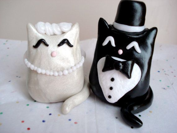Cat Wedding Cake TopperFunny Wedding Cakes, Wedding Cake Toppers, Toppers Polymer, Cat Cake, Clay Kitty, Funny Cat, So Funny, Kitty Cake, Polymer Clay