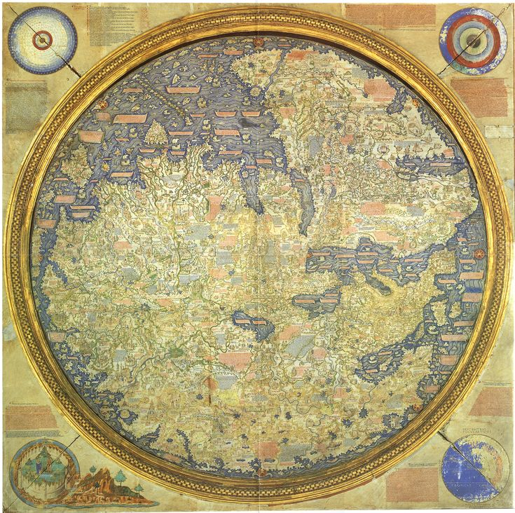 The Fra Mauro map, one of the greatest memorials of medieval cartography, was made around 1450 by the Venetian monk Fra Mauro. It is a circular world map drawn on parchment and set in a wooden frame, about two meters in diameter