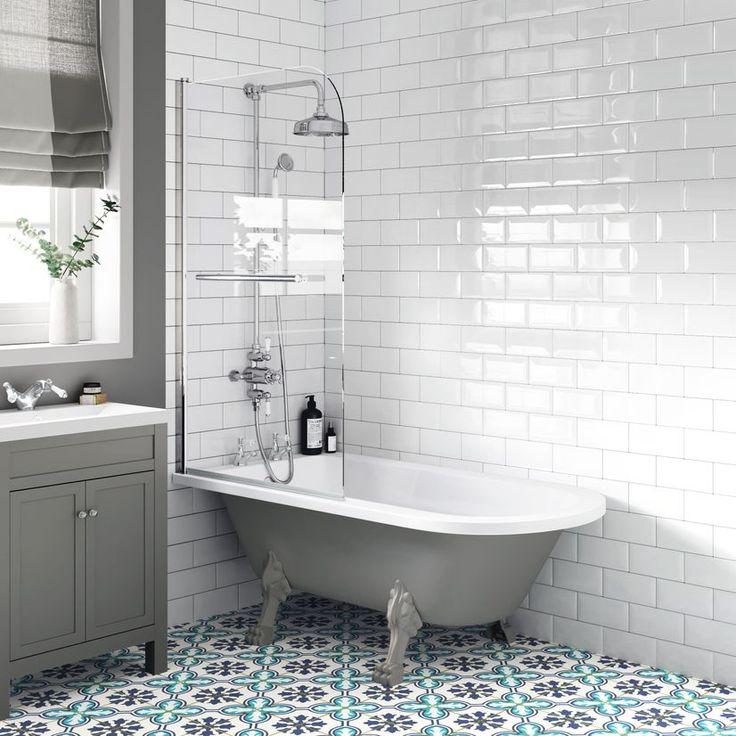 Abingdon 1500mm dove grey roll top shower bath grey claw