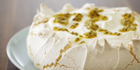 A pavlova is a meringue dessert that has a crunchy exterior, but yields to a soft, marshmallow-like interior.