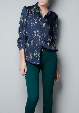 Navy Floral Sequin Lapel Long Sleeve Chiffon Blouse