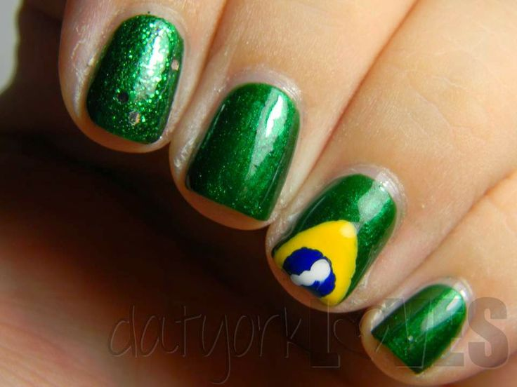 23 best Uñas images on Pinterest | Flag nails, Brazil and Brazil flag