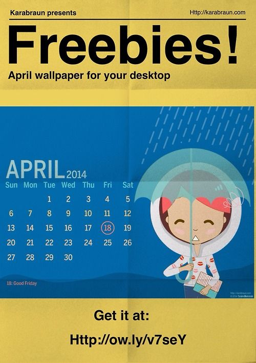 Free wallpaper for you! ^_^: April calendar for your desktop. Get it at http://ow.ly/v7seY or from our facebook page: karabraun  #karabraun