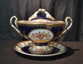 LARGE CONTEMPORARY COBALT & GOLD TUREEN WITH