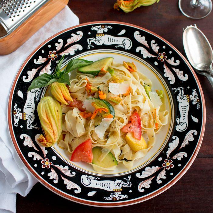 Homemade Tagliatelle Pasta with Zucchini Blossoms / https://www.hwcmagazine.com