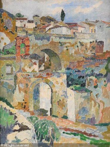 Carl Wilhelmson (1866-1928): Stadsmotiv från Ronda, Andalusien