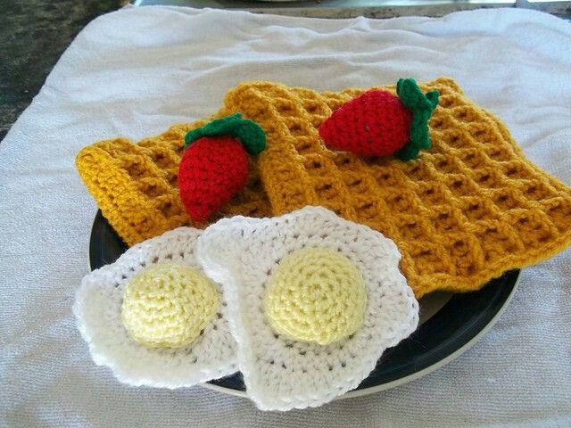 Crochet Breakfast - waffles , strawberries, & fried eggs