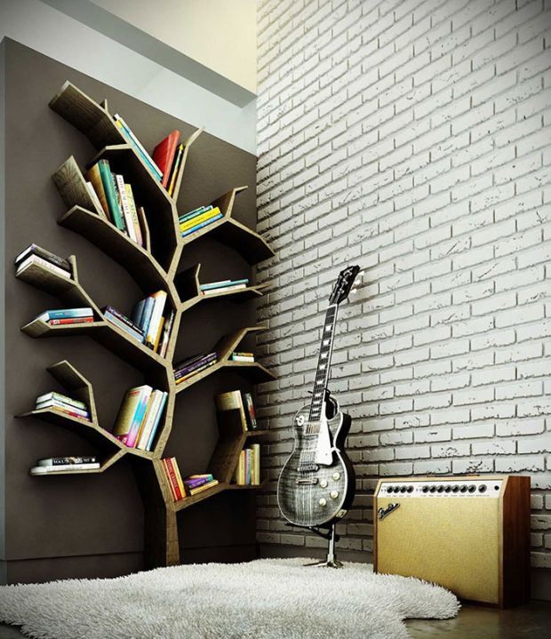 Best Shelves Images On Pinterest Bookshelf Design Creative - Fallen branch is repurposed to create beautifully unconventional shelf