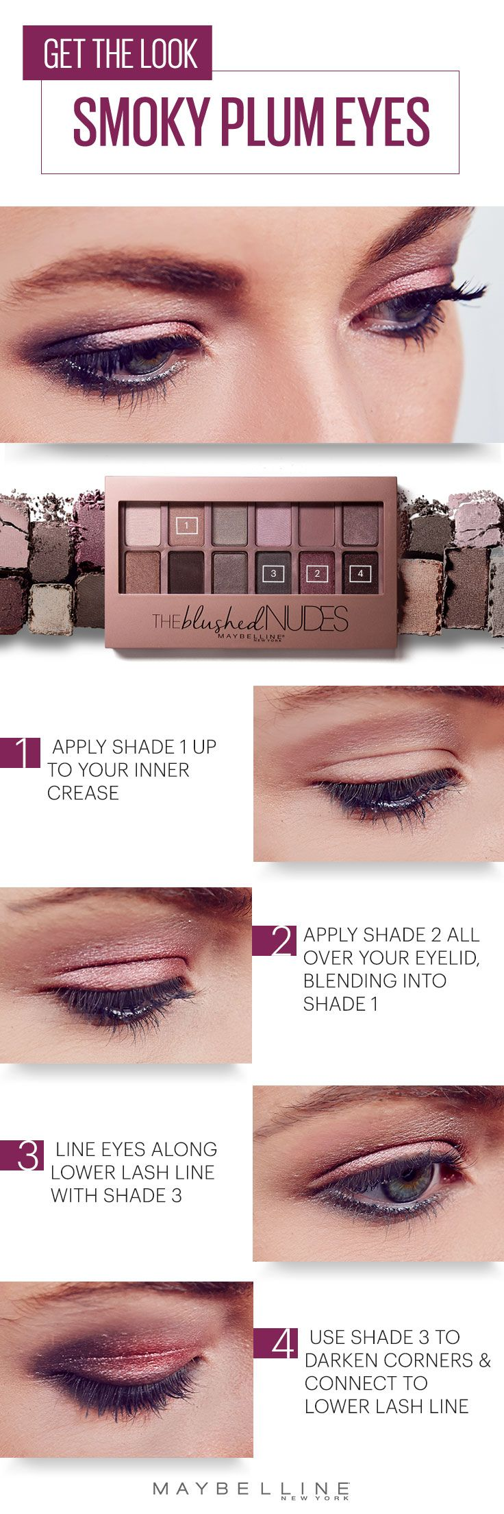 Set those spring nights on fire with this smoky plum eyeshadow tutorial. Get this romantic smoky eye makeup look with the Maybelline Blushed Nudes palette. This step by step will leave you with a beauty look that is perfect for anything from date nights to weekend trips.